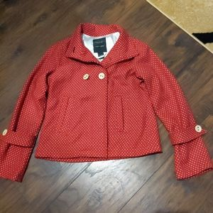 Anthropologie Sanctuary Red Polka dot Peacoat SM